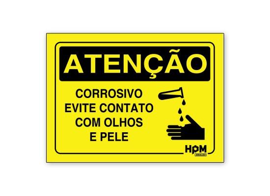 Placa Atenção - Corrosivo, evite contato