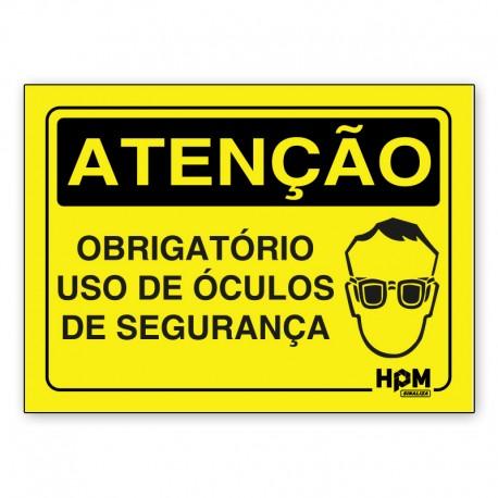 Placa Atenção - Use Óculos de Proteção