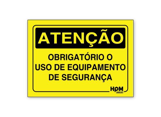 Placa Atenção - Obrigatório uso de EPI