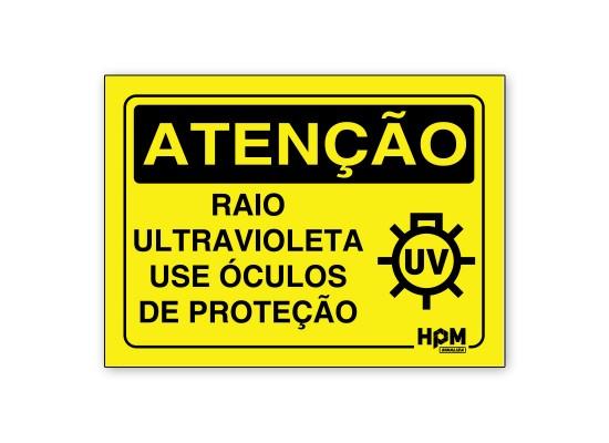 Placa Atenção - Raios UV