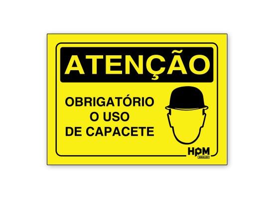 Placa Atenção - Obrigatório uso de capacete