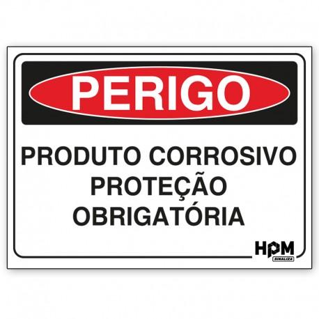 Placa Perigo - Produto Corrosivo