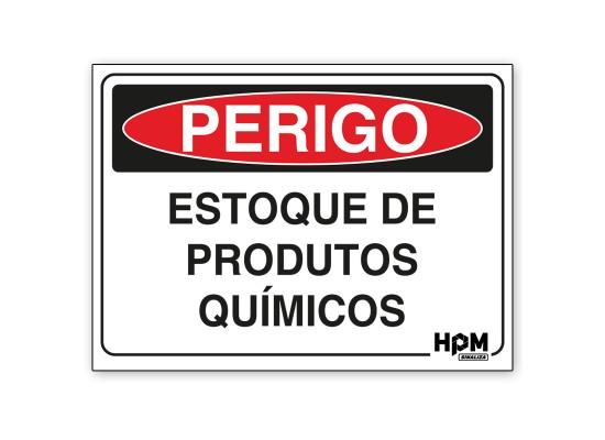Placa Perigo - Estoque de Produtos Químicos