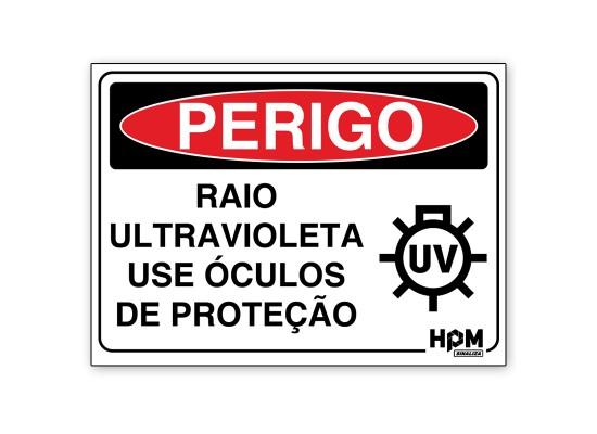 Placa Perigo - Raio Ultravioleta