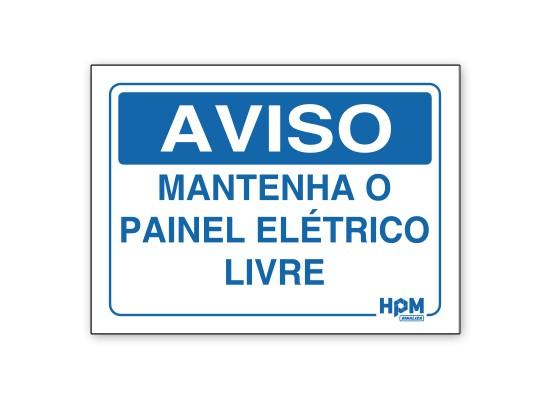 Placa Aviso - Mantenha o Painel Elétrico Livre