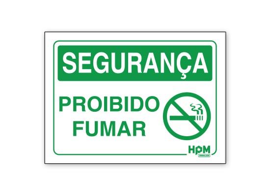 Placa Segurança - Proibido Fumar