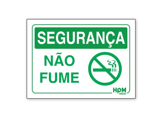 Placa Segurança - Não Fume