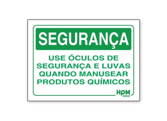 Placa Segurança - Use EPI para Manusear Químicos