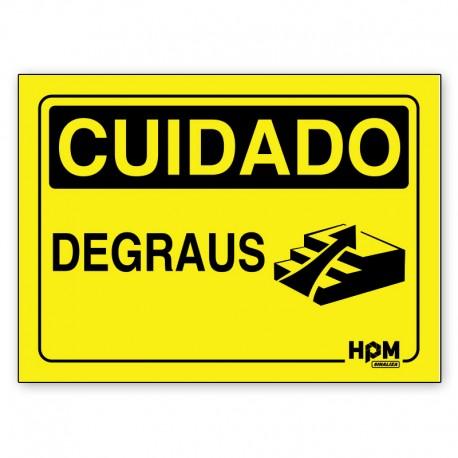 Placa Cuidado Degraus