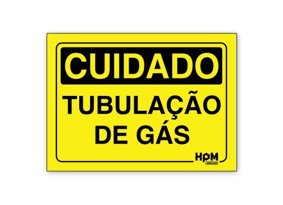 Placa Cuidado Tubulação de Gás