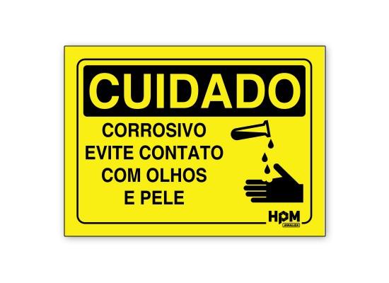 Placa Cuidado Corrosivo, Evite Contato
