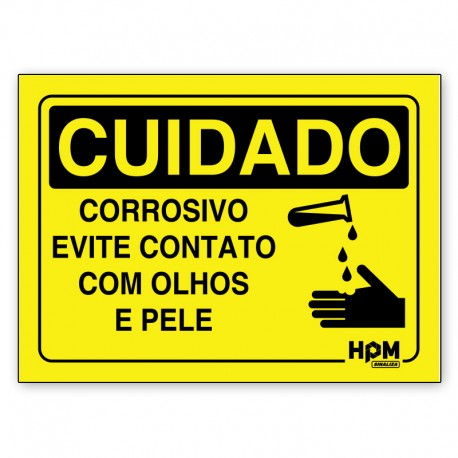Placa Cuidado Produtor Corrosivo, Proteção Obrigatório