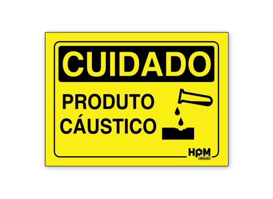 Placa Cuidado Produto Caustico