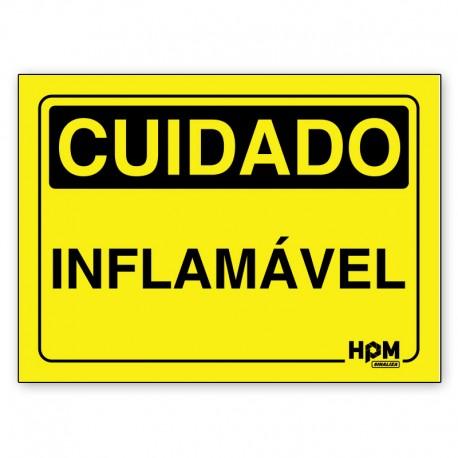 Placa Cuidado Estoque de Material Inflamável