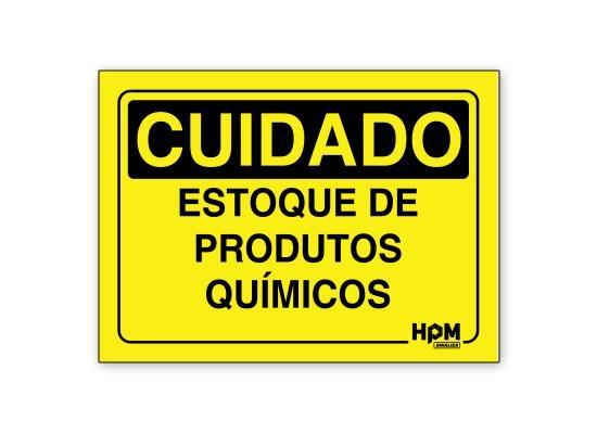 Placa Cuidado Estoque de Produtos Químicos